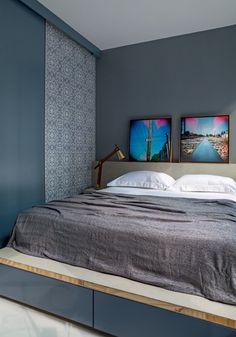 Projeto do Superlimão Studio, publicado na revista Casa e Jardim. A cama não precisa estar hermeticamente arrumada. Afinal, a casa é um elemento vivo.