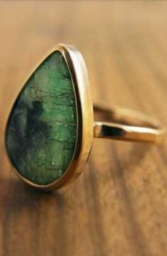 Recycled 14k gold Teardrop Amazonite Slice Ring by Melissa Joy Manning. #MelissaJoyceManning