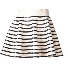 OLYMPIA LE-TAN 'Rosa' skirt (45.834.810 VND) ❤ liked on Polyvore featuring skirts, mini skirts, saia, bottoms, striped short skirt, stripe skirts, short mini skirts, striped skirts and cream skirt