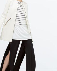 Image 4 of ZIPPED ROUND NECK COAT from Zara