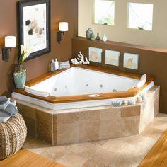 Sensational Small Corner Bathtub Designs Ideas Decorated With Limestone Flooring And Wooden Border Design Ideas For Bathroom Inspiration / Excellent Corner Bathtub B&q