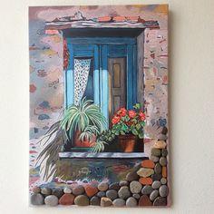 Yağlı boya bir köy evi penceresi. #yağlıboya #saksı #sanat #şirin #souvenir #art… Pour Painting, Stone Painting, Painting Recipe, Stone Crafts, Wooden Art, Pebble Art, Stone Art, Mosaic Art, Art Studios