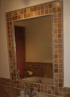 Tile Around Mirror Morphs Into Border Diy Bathroom Backsplash