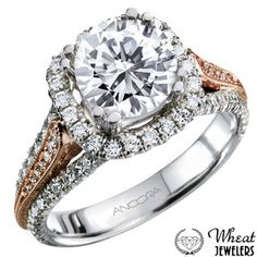 3 Row Two Tone Cushion Halo Engagement Ring with Round Diamond Center and Diamond Accents #engagementring #halo