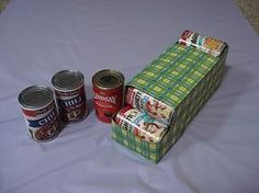 DIY pantry organizer for you cans! use an old box or soda can sleeve!
