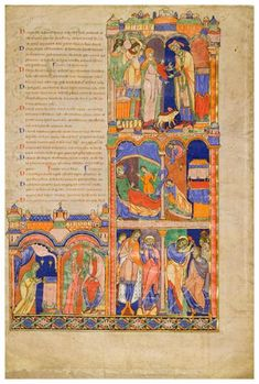The Winchester Bible English 1160 - 1175:  Scenes from the Life of Samuel. You can zoom WAY in for some amazing detail!
