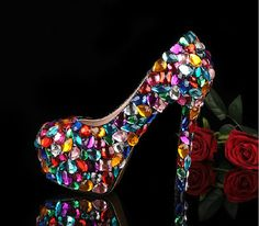 Colorful Bridal Shoes ,wedding shoes,party shoes,wedding shoes,Crystal Shoes,High-heeled Waterproof shoes with Rhinestones, on Etsy, $214.16 AUD