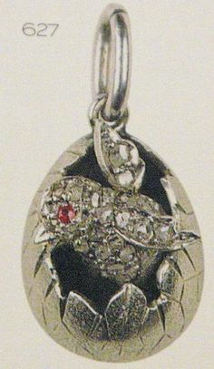 Faberge pendant diamond chick with Ruby eye.