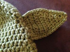 Crochet yoda ears - do in the round instead of 4 and sew together
