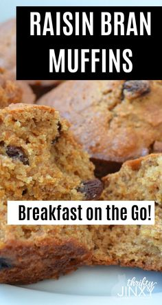 Take breakfast on the go with these easy to make Raisin Bran Muffins. They're a great way to use up leftover cereal! Raisin Bran Muffins, Bran Muffins With Raisins, Healthy Bran Muffins, Healthy Breakfast Breads, Easy Breakfast Muffins, Breakfast Recipes, Breakfast Crockpot, Breakfast Quiche, Breakfast Potatoes
