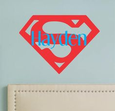Boy's Room Super hero Superman Symbol with Name Vinyl Wall Decal Home Decor