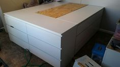 Queen Size Bed with large storage area - Ikea Hack