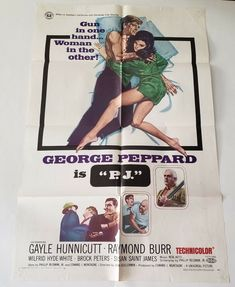 "P.J. 1968 Original Movie Poster One Sheet 27"" x 41"" GEORGE PEPPARD RAYMOND BURR James Music, Cellophane Tape, George Peppard, Raymond Burr, Original Movie Posters, Universal Pictures, Art Prints, The Originals, Learning"