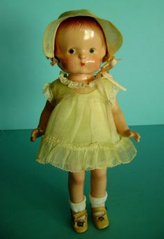 Vintage ALL Original Composition Effanbee Patsy Jr. Doll in Original Outfit