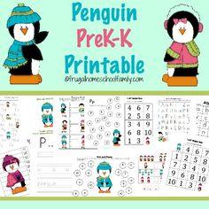 Penguin PreK-K Printable and Activities - Mama Goes Frugal January Preschool Themes, Preschool Curriculum, Preschool Lessons, Preschool Kindergarten, Homeschool, Winter Activities For Kids, Abc Activities, Ted, Teaching Kids
