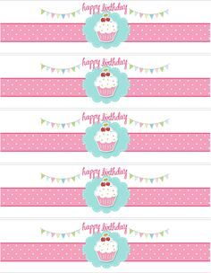 Free Printable Water Bottle Labels Template | Cupcake Themed Birthday Party with FREE Printables