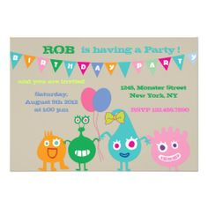 Happy Monsters -Birthday Party Invitations-brown