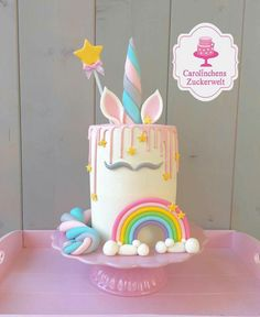 Unicorn+Cake++-+Cake+by+Carolinchens+Zuckerwelt+ (unicorn birthday cakes design) Unicorn Birthday Parties, Unicorn Party, Unicorn Cakes, Rainbow Unicorn, Girly Birthday Cakes, Rainbow Magic, Birthday Ideas, Beautiful Cakes, Amazing Cakes