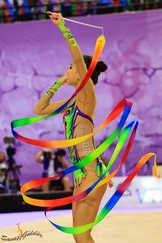 Yeon Jae SON, South Korea, World Championships Izmir 2014 Gymnastics World, Rhythmic Gymnastics, Ice Skating, Figure Skating, Rainbow Costumes, Ballet Beautiful, Summer Olympics, Sport, World Championship