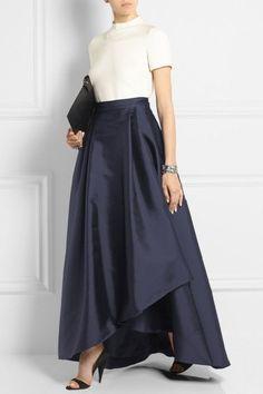Office Lady Dark Navy Blue Long Satin Skirts For Women 2018 Asymmetrical Fashion Female Adult Skirt Zipper Pleat Saias New Modest Wedding Dresses, Trendy Dresses, Modest Outfits, Skirt Outfits, Modest Fashion, Dress Skirt, Fashion Dresses, Ball Skirt, Wedding Skirt