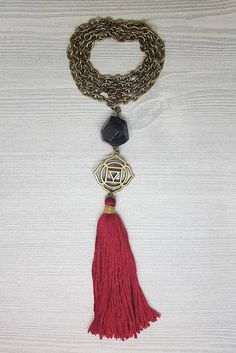 Root Chakra Garnet Gemstone Tassel Necklace & Positive Affirmation Card.  Yoga Necklace. Meditation Necklace.