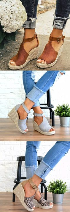 Women Chic Espadrille Wedges Adjustable Buckle Sandals Buy 2 Get Mode Outfits, Casual Outfits, Dress Casual, Fashion Shoes, Fashion Outfits, Womens Fashion, Mode Shoes, Mode Boho, Look Vintage