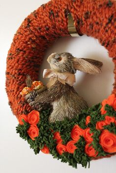 Bunny Rabbit Wreath  12 inch Orange Brown by TheBakersDaughter, $43.00