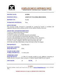 preschool assistant teacher resume examples google search - Preschool Teacher Resume