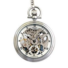 Rotary Mens Stainless Steel And Silver Pocket Watch - Product number 8591113