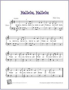 Hallelu, Hallelu (Bible Song) | Free Sheet Music for Easy Piano - http://www.makingmusicfun.net/htm/f_printit_free_printable_sheet_music/hallelu-hallelu-piano.htm