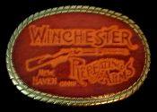 Leather Winchester belt buckle from Vintage Basement - www.vintagebasement.com