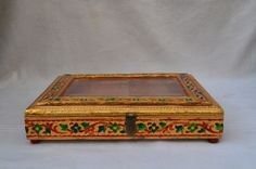 Royal jewelry/multipurpose wooden box vanity case with beautiful inlay Paint Themes, Hand Carved, Hand Painted, Royal Jewelry, Leather Bags Handmade, Art Techniques, Wooden Boxes, Folk Art, Decorative Boxes
