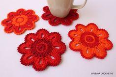 Crochet Coasters  Summer Trends  Crochet Flowers by LyubavaCrochet