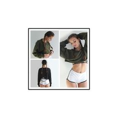 Distressed Cropped Pullover ($14) ❤ liked on Polyvore featuring tops, hoodies, sweatshirts, sweatshirt, women, pullover sweatshirt, ripped sweatshirt, ripped tops, crop top and olive green crop top