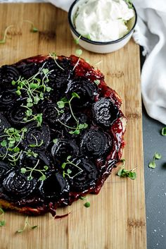 Beetroot Tarte Tatin with Goat's cheese cream. #vegetarian #recipe