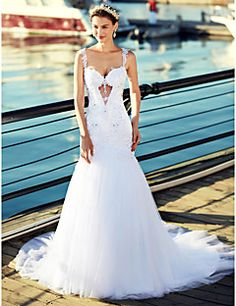 Sereia+Cauda+Capela+Tule+Vestido+de+casamento+com+Miçangas+Apliques+de+LAN+TING+BRIDE®+–+BRL+R$+2.215,33