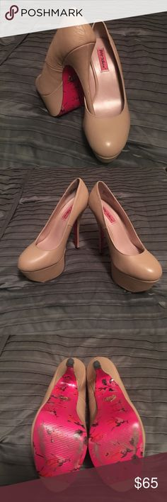 Size 8.5 Betsey Johnson nude heels Amazing nude heels worn twice for wedding! A few minor scuffs shown in pictures. Betsey Johnson Shoes Platforms