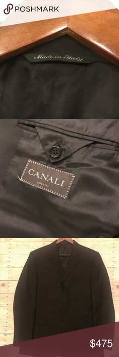 •Amazing Like New Canali Blazer in Black-Pure Wool Excellent, like new Canali pure wool blazer in black, made in Italy. AL 13320/32.  Stunning craftsmanship. Canali Suits & Blazers Sport Coats & Blazers