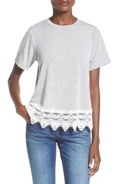 artee couture Stripe Crochet Hem Tee available at #Nordstrom