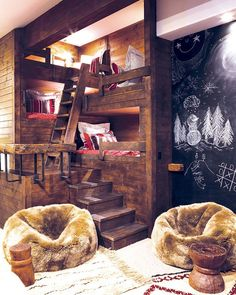 The sleep-over-friendly bunkroom provides cozy nooks (each individually lit and equipped for cell phone charging), a blackboard wall and fuzzy beanbags-Mtn Living
