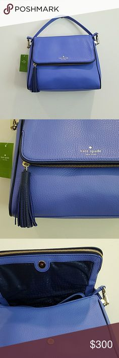 Blue Kate Spade Handbag Kate Spade Chester  Product details  Elevate your on-the-go routine with this richly textured satchel, cut from durable leather for a high-end edge and equipped with a top handle and a crossbody strap for carrying versatility. 10.5'' W x 10'' H x 3.5'' D 4.5'' handle drop 24'' max. strap drop Leather Lined Snap / flap closure Interior: one zip and one slip pocket Adjustable shoulder strap Imported kate spade Bags Crossbody Bags