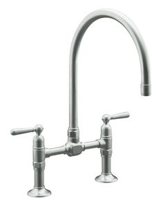 View the Kohler k-7337-4 Double Handle Bridge Kitchen Faucet with Metal Lever Handles from the HiRise Series at FaucetDirect.com.