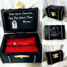 Disney inspired Beauty & the Beasts Proposal Ring Box w/ Movie Quote inside - fits up to two rings / Hand painted and made to order - wedding inspiration - Beauty And Beast Quotes, Beauty And The Beast Wedding Theme, Disney Beauty And The Beast, Wedding Beauty, Big Wedding Rings, Our Wedding, Dream Wedding, Wedding Disney, Disney Engagement