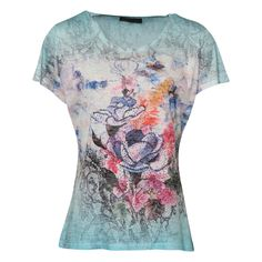 Blue abstract print short sleeve T shirt blue pink