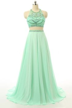 Elegant green chiffon beaded two pieces halter long prom dresses open back evening dress with spaghetti straps by prom dresses, $192.00 USD