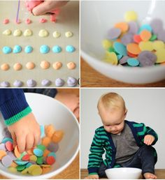 How to make easy, DIY frozen yogurt dots for a fun and healthy toddler snack | Small Fry blog