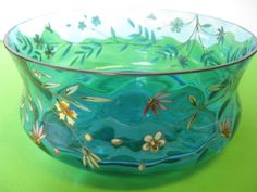 Elegant art deco blue floral berry bowl, just gorgeous is all I can say. I am hazeleyes767 #teamsellit