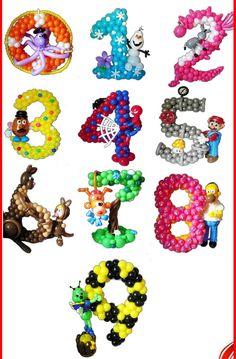 Decoración con globos. .. números