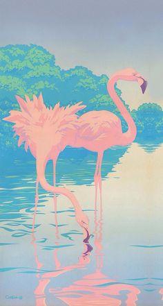 Grafika przez We Heart It https://weheartit.com/entry/135613070/via/4936365 #background #flamingo #iphone #pink #wallpaper #water