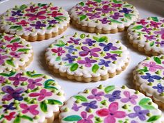 Hand painted flowers on flooded sugar cookies - great idea!